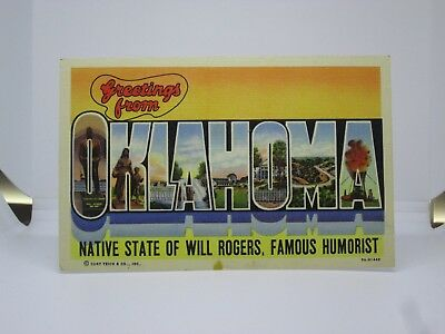 Vintage Postcard Greetings from Oklahoma Large Letter Curt Teich