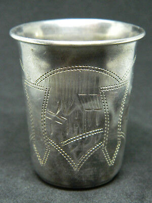 Antique SHOT GLASS Silver 84 Russian Imperial Style Great Pattern NO RESERVE AUC
