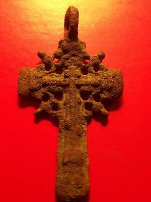 Antique Byzantine 17th Russia Orthodox Crucifix Cross CAR SLAVI Pendant 6.46 gr