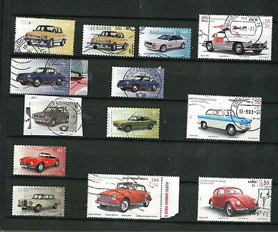 Bund / BRD Lot Briefmarken Autos 2002 - 2018 Wartburg, Audi, Golf nk,sk (160818)