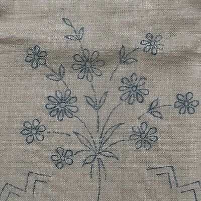 Vintage Stamped / Printed Linen Tablecloth To Embroider~50x52 Inches~Posies