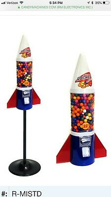 "Gumball Retro Mighty Mite Rocket Vending Machine Vends 1"" Gum Balls & Capsules"