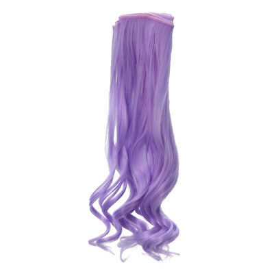 Dolls Curly Hair Wavy Wig for Doll DIY Making & Repair Accessory Purple