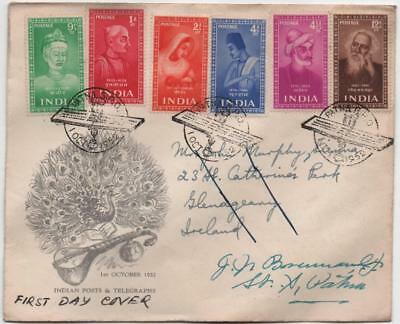 INDIA: 1952 Indian Posts & Telegraphs First Day Cover to Ireland (18273)