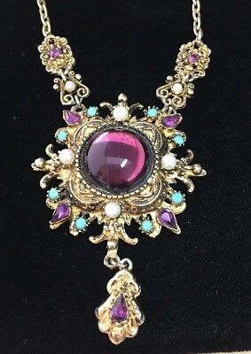 Beautiful Vintage Baroque Style Amethyst Moonstone Pendant Necklace