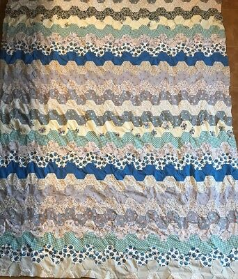"Hand Sewn Quilt Top - Shades Of Blue Patchwork 67"" X 82"""