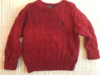 Ralph Lauren Baby Toddler Cable Knit Sweater Red Size 24 Months