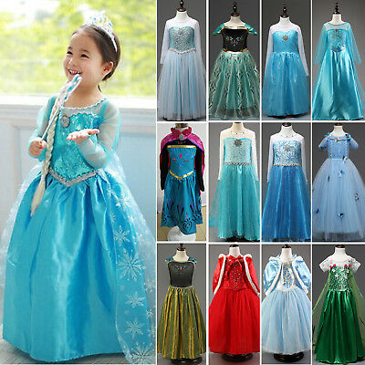 Girls Frozen Princess Elsa Anna Fancy Dress Up Party Costume Cosplay Age 3-10Y