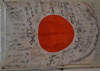 "Vintage WWII JAPANESE FLAG 39""x30"" Silk MEATBALL Writing Signed BATTLE WORN"