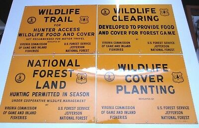 4 Vintage US Forest Service Signs 8.75x11.75 Va. Jefferson Fishing Hunting Game