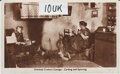 Shetland - Crofters Cottage - Carding & Spinning - Real Photo  Postcard #14593