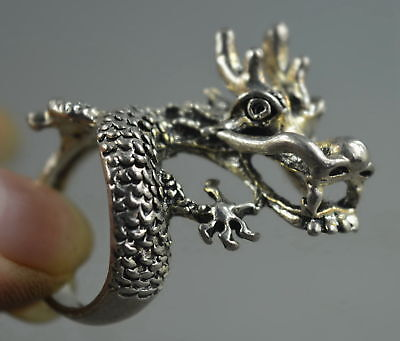 Collectable Handwork Decor Miao Silver Carve Mighty Dragon Head Exorcism Ring