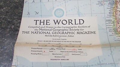 Original March 1957 National Geographic Society THE WORLD map
