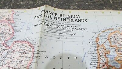 Original June 1960 National Geographic Society FRANCE, BELGIUM, NETHERLANDS map