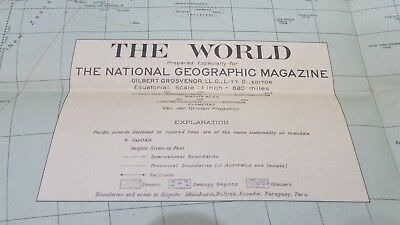 Original 1932 National Geographic Society THE WORLD map