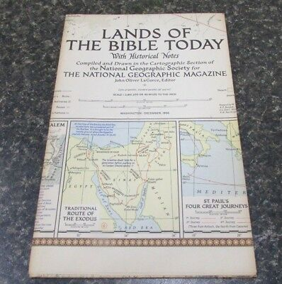 Original December 1956 National Geographic Society LANDS OF THE BIBLE TODAY map
