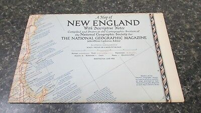 Original June 1955 National Geographic Society NEW ENGLAND map