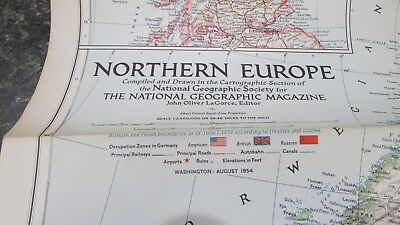 Original August 1954 National Geographic Society NORTHERN EUROPE map