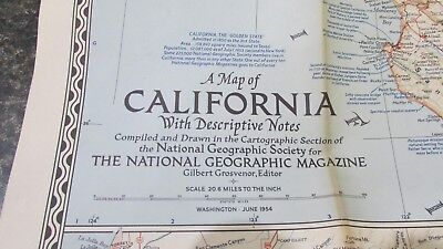 Original June 1954 National Geographic Society CALIFORNIA map