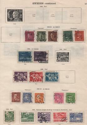 SWEDEN: 1929-1936 Examples - Ex-Old Time Collection - 2 Sides Page (17623)