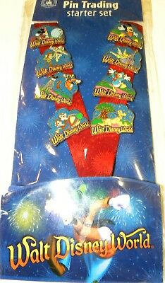 Disney world park pin trading lanyard starter set 2014 earful tower NIP 8 pins