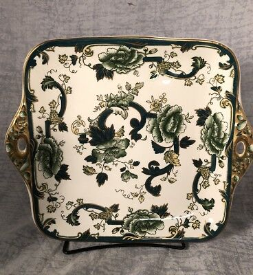 Mason's Patent Ironstone England CHARTREUSE Green Transfer Square Cake Plate