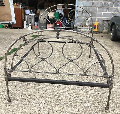 Antique Victorian Cast iron stripped double bed frame