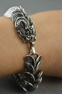 China Collectable Handwork Miao Silver Carve Squama Dragon Amulet Bracelet Gift