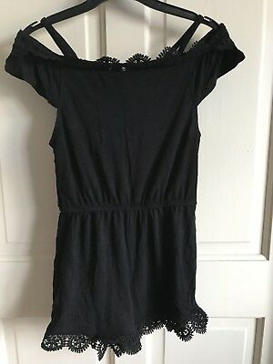 BNWOT River Island Play/ Jump Suit. Girls. Black. Age 5 - 12 Years. Lace