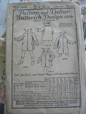 Vintage Sewing Pattern 1920s Childs Coat