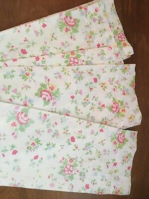 Vintage Shabby Chic Floral Curtains Cottage Kitsch 3 Panels