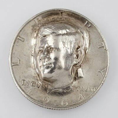 """1964 50C Silver Kennedy Half Dollar w/ """"Punched Out"""" Face 3-Dimensional Coin"""