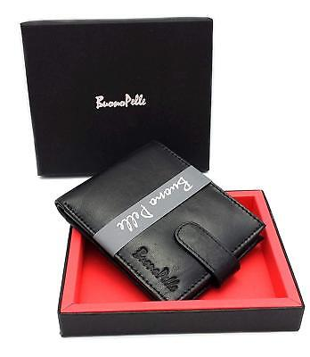 BUONO PELLE Leather Wallet Credit Card Holder Mens Bifold Purse RFID Blocking