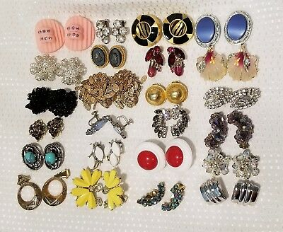 Vintage Rhinestone jewelry earring lot 24 pairs signed unsigned Weiss, Bogoff, +