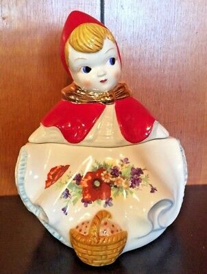 Vintage Little Red Riding Hood Cracker Cookie Jar 8 In Tall