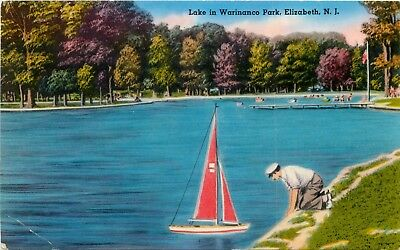 New Jersey Postcard: Man With Toy Boat Lake In Warinanco Park, Elizabeth, Nj