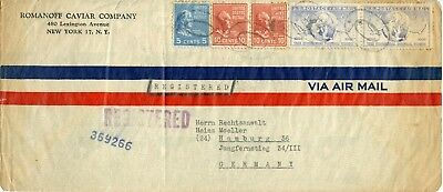 U.S. Scott 815 (2) and 810 Prexies with C43 (2) On Registered Cover to Germany