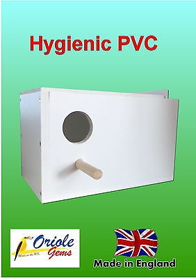 Budgie nest/breeding box removable MDF concave and perch Left hand hole