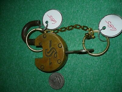 Slaymaker Brass Circular Padlock With Working Key