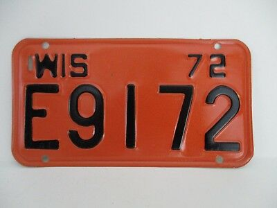 "Vintage Motorcycle License Plate Wisconsin 1972 ""Free Shipping"""