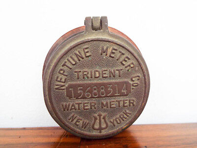 Vintage Brass Neptune Meter Company Trident Water Meter Cover #15688314 New York