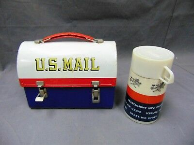 U.S. MAIL Vintage 1960's Lunchbox Aladdin with Thermos Metal Dome Top & Mr. Zip