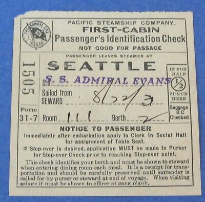 1931 Admiral Line Pacific Steamship Co. Passenger ID Check