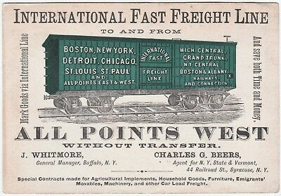 RARE Trade Card International Fast Freight Line Railroad Points WEST 1875 RR NY