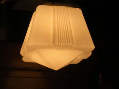 Super Art Deco Skycraper Vtg White Light Fixture Shade
