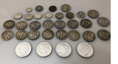 Huge Silver Coin Lot Peace Dollar Seated Franklin Walking Liberty Quarter Dime