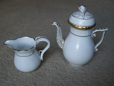 Herend Individual Gold Edge? Tea/Coffee Pot #614 and Creamer #1644.  Excellent!