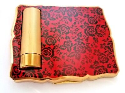 Vintage STRATTON Rare Rectangular Vanity Compact with RED & BLACK Enameled Roses