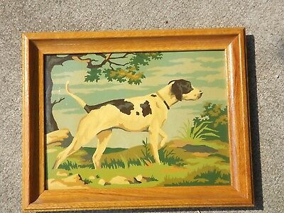 Vintage  Paint By Number Pointer Hunting Dog Framed Picture Painting