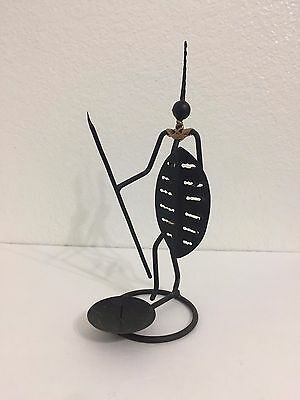 African Folk Art Tribal Wrought Iron Rattan Wicker Candle Holder - Tribe Warrior